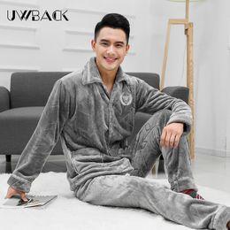 Discount modern men shirts - Uwback 2017 New Winter Pijama Masculino Men Flannel Coral Fleece Modern Thick Winter Pyjamas Men Pyjama Homme Sleepwear
