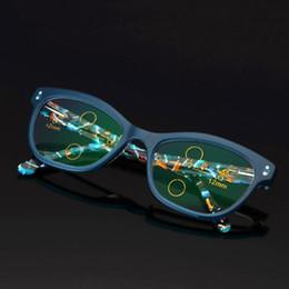 661c07e7e64 Vintage Photochromic Reading Glasses Progressive Eyeglasses Color Change  Lens Outside Sunglasses Blue Frame Eye Reader +1.0~+3.0 Strength