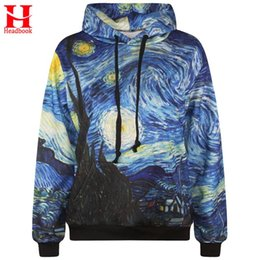20f7581815c9e5 2017 Headbook Starry Night men s 3d sweatshirt fashion print Van Gogh oil  painting hooded hoodies tracksuits hoody with pockets