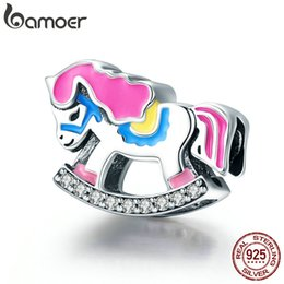 $enCountryForm.capitalKeyWord NZ - Genuine 925 Sterling Silver Rocking Horse Color Enamel Charm Beads fit Women Charm PAN DORA Bracelets Bangles DIY Jewelry Gift