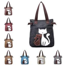 Cat bag wholesale online shopping - Women Canvas Handbag Fashion Ladies Shoulder Bags Cute Cats Design Tote Bag Travel Outdoor Sports Portable Handbags