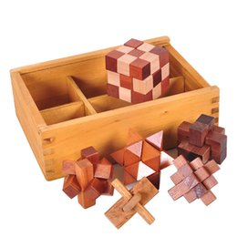 China Luban Lock 6Pcs Wooden In A Box Unique Magic 3D Puzzles Brain Teasers Intelligence Toys - Prefect Gift for Kids and Adults suppliers