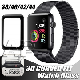 apfel uhr schirmabdeckung 38mm großhandel-Für Apple Watch D volles Cover Tempered Gla Screenschutzfolie mm mm mm mm Anti Scratch Bubble Free für iWatch Serie