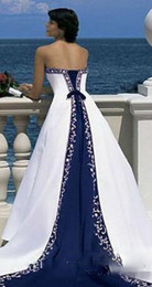 $enCountryForm.capitalKeyWord NZ - Hot Sale Vintage White And Blue A-Line Wedding Dresses Long Church Formal Bridal Gowns Princes Strapless Sleeveless Pastels Stain Plus Size