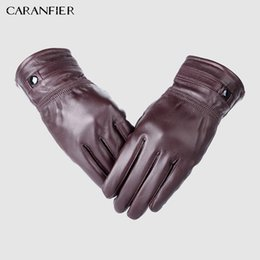 a4a5520fa CARANFIER Mens Genuine Leather Gloves Winter Thermal Thickening Warm  Sheepskin Velvet Outdoor Glove Fashion Driving Men Gloves S1025