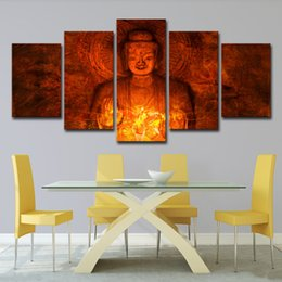 $enCountryForm.capitalKeyWord Australia - Wall Art Pictures Home Decor For Living Room 5 Pieces Buddha Canvas Paintings HD Prints Abstract Golden Flower Posters
