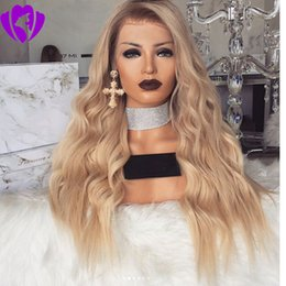 black blonde ombre wig NZ - 180%density 30inches long ombre blonde wig body wave synthetic hair lace front wigs with natural hairline for black and white women