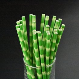 Wholesale Bamboo Paper Straws For Wedding Kids Birthday Party Decoration Drinking Straw Striped Creative Bar KTV Decor Supplies Green nb YY