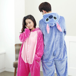 $enCountryForm.capitalKeyWord NZ - Winter Pink Blue Stitch Sleepwear Couple Pajama Unisex Flannel Pyjamas Women Men Cosplay Cartoon Animal Onesie Hoodie Pajamas