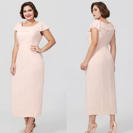 b56467ca74e Cheap Blush Pink Sheath Mother Of The Bride Dresses Tea Length Plus Size  Wedding Guest Dress Cap Sleeves Formal Evening Gowns