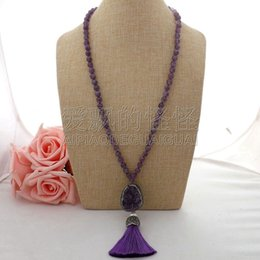 necklaces pendants Australia - N062309 27'' Pearl Necklace Druzy Tassel Pendant