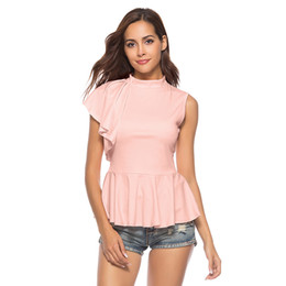 7fd6e0ca9c64 2018 Summer Womens Tops and Blouses Solid Color Irregular Ruffle High Neck  Sleeveless Shirt Peplum Elegant Office Lady Work Wear