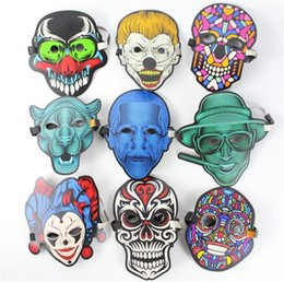 Wholesale Hot Sound control luminous LED mask nightclub makeup mask fluorescent LED Horror mask Party Masks I314