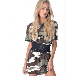 Tight Dresses Belt NZ - good quality Women Camouflage Fashion Short Sleeve Dresses Summer Beach Party Short Mini Dress Casual O-neck With Belt Tight