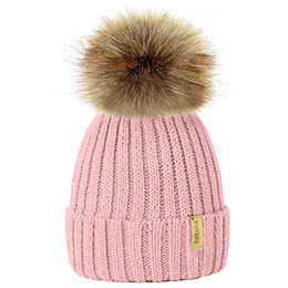 aa9d5fee7a7 2018 Winter Hat For Kids Knit Beanie Winter Baby Hat For Children Fur Pom  Pom Hats For Girls Boys Warm Muts Cap