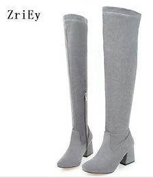 Discount open knee shoes - fashion laides plus size 34-43 women pumps zapatos mujer knee high shoes woman chunky high heels girls party C170053