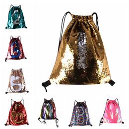 Shoulder Straps Backpack NZ - Sequin Backpack Drawstring Bags Strap Reversible Sequins Women Men Double Shoulder Bag Designed Bag Travel Accessory Bag 8 colors MMA687