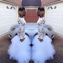 online shopping 2018 African White Mermaid Lace Prom Dresses for Black Girls Long Sleeves Ruffles Tulle Floor Length Plus Size Evening Prom Gowns Vestidos