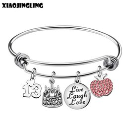 XIAOJINGLING 13 Years Old Birthday Gifts Cake Pendant Bracelets Bangles Pink Crystal For Daughter Niece Family Gift