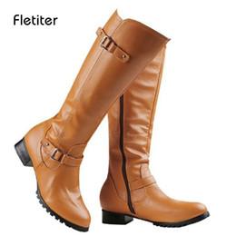 6e321975 Botas hasta la rodilla Mujer Botas de moto con cremallera Tacones bajos 3  cm Zapatos de plataforma con flecos Damas de invierno Montar 2018 Fletiter