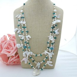 "$enCountryForm.capitalKeyWord NZ - N022932 27"" 3 Strands White Keshi Pearl Natural Turquoise Necklace"