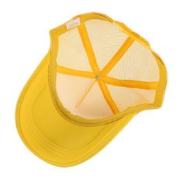 Blank Black yellow cap online shopping - Unisex Women Men Solid Color Hollow Out Breathable Adjustable Hats Trucker Mesh Blank Visor Sport Caps