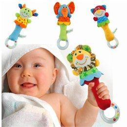 baby rattles Canada - Lovely Soft Animal Model Hand Bell Rattles Baby Toys For Kids Handle Developmental Babyfans Educational Toy
