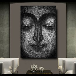 Painting Faces Australia - 1 Pcs Modern Wall Art Pictures For Living Room Hand Draw Buddha Face Home Decor HD Canvas Painting Poster No Framed
