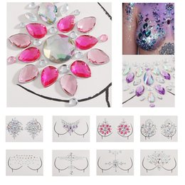 Wholesale Jewel Adhesive Gems Chest Tattoo Sticker Face Neck Chest Gems Wedding Party Body Boobs Makeup Tools