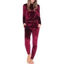 f09c81532f37 Velour Velvet Tracksuit NZ - Women Two Piece Set Female Winter Tracksuit  Velvet Hoodies Top +