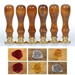 alphabet letter stamps NZ - Classic Sealing Wax Wood Scrapbooking Stamp Initial Wax Seal Stamp Alphabet Letter Retro Hot Sealing Wax Stamp