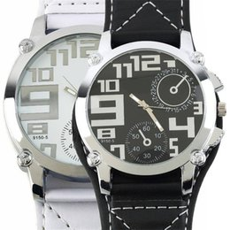 Wholesale Fashion Big Leather Band Over Size Face Men Male Boys Sports Quartz Clock Wrist Watch