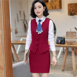 Discount ol suit uniform - Summer work wear women suits skirt fashion OL plus size vest uniform female clothes vest set formal office ladies suits