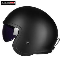 984f111b LS2 Vintage Spitfire OF599 Motorcycle Retro Open Face Jet Helmet with Sun  Visor Capacetes de Motociclista Casque Casco Moto