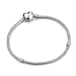 Cheap heart Chains online shopping - 3mm Snake Chain Bracelet DIY Jewelry Accessories Silver Plated Heart shape Basic Chain CM Cheap DHL FREE Christmas Gift