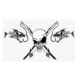 Reel bodies online shopping - Car Body Decor Car Stickers and Decals Auto Motorcycle Sticker Fishing Skull Skeleton Fish Rod Reel Car Styling CM