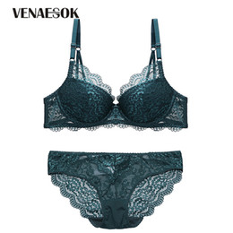 Europe Gather Bras Green Lingerie Sets Lace Embroidery Brassiere Cotton  Thick Underwear Set Sexy Women Push Up Bra Set Deep V 61034acc5