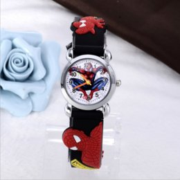 Wholesale Spiderman Pattern D Rubber Strap Children Watch Fashion Kids Quartz Wristwatch for Boys Students Cartoon Sports Clock