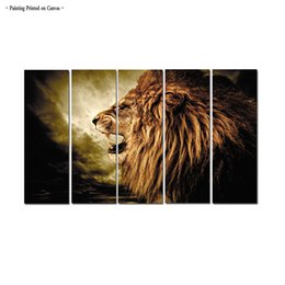 $enCountryForm.capitalKeyWord NZ - Large Contemporary 5 Panel Arrival Roaring Lion Animal Pictures Print on Canvas Hot Sale Modern Art Painting for Living Room Bedroom Decor
