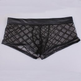 166ab531774 New Sexy Men Mesh Diamond Transparent Boxers See Through Breathable Thongs  Underwear Penis Pouch Gay Lingerie Gay Wear FX1010