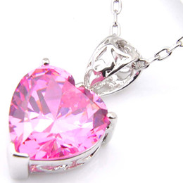 shine pink Canada - 10Pcs Luckyshine Excellent Shine Heart Fire Swiss Pink Kunzite Cubic Zirconia Gemstone Silver Pendants Necklaces for Holiday Wedding Party