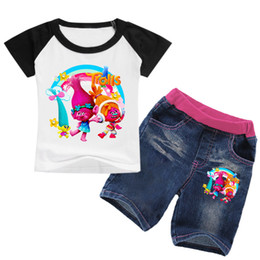 9f6fd8040 2-8Years Bobo Choses Summer 2018 Kids Girls Clothes Set Dreamworks Trolls  Clothes Toddler Girls Short Sets Soft Jeans Shirt Set