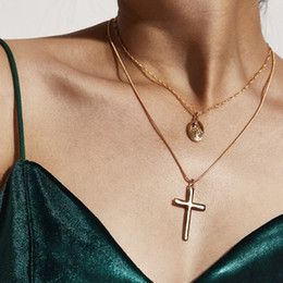 Discount gold chokers cross - 2PCS Bohemian Gold Cross Statement Necklace Set Jesus Gold Chain Choker Necklace for Women Cross Pendant Sets Jewelry