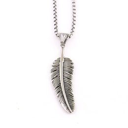 Men Pendant Feather NZ - New Design Women Men Necklace Feather Shape Pendant Special Box Chain Personality Gift For BFF Stainless Steel Provide Dropshipping