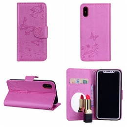 Discount chinese mirrors - Bling Mirror Leather Wallet Case For Iphone XR XS MAX X 8 7 Plus 6 6S SE 5 5S Ipod Touch 6 5 Cover Butterfly Flower Flip