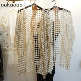 loose pearls 2019 - Cakucool New Women Hollow Out Lace Florals Open stitich Summer Sunprotector Loose Pearl Bead Cute Sweet Long Outerwear C