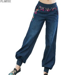 Jeans For Big Waist Canada - Embroidery Jeans For Women Big Size Loose Harem Pants Feminino Plus Size Wide Leg Jean Pantalones Vaqueros Mujer 2018