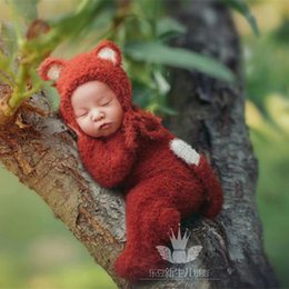 bc514f485251 Discount knitted baby animal outfits - Rusty Newborn Fox Hat and Romper  Knit Chunky Footed Romper