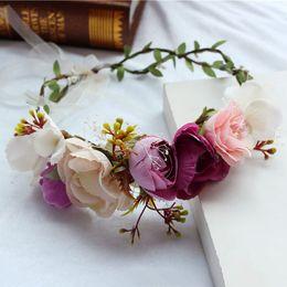 artificial hair accessories 2019 - Gorgeous Women Flower Wreath Artificial Flower Girl Crown Holiday Headband Bridal Headpiece Tiara Hairband Wedding Hair