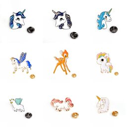 $enCountryForm.capitalKeyWord NZ - Unicorn Deer Brooch Pony With Wings Horse Unicorn Button Pins Coat Jacket Pins Badge Cartoon Animal Pins Women Fashion Bag Accessories